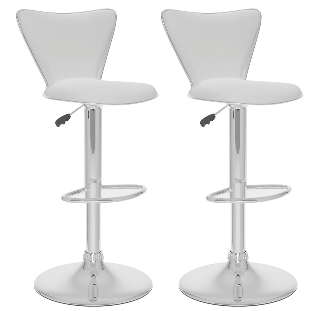 Metal Chrome Contemporary Low Back Armless Bar Stool With White