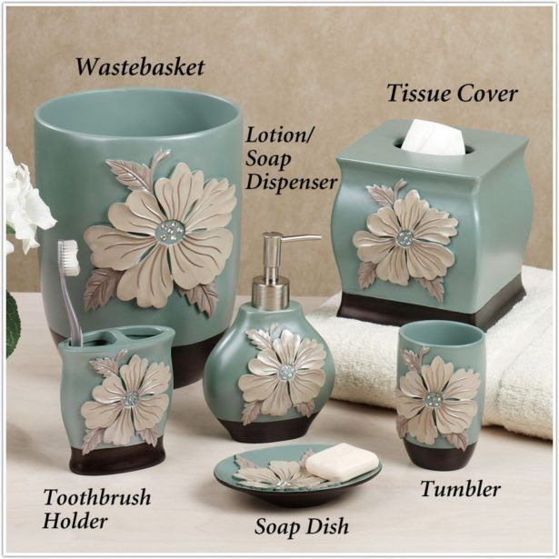 Bathroom Flower Blossom Accessories Wastebasket Tumbler Toothbrush Holder Soap Dish Tisue Cover