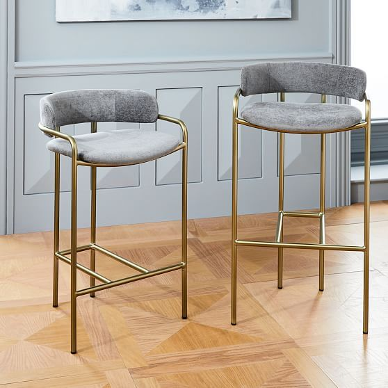 Stupendous Lenox Bar Stool Distressed Velvet Mineral Gray Blackened Gmtry Best Dining Table And Chair Ideas Images Gmtryco