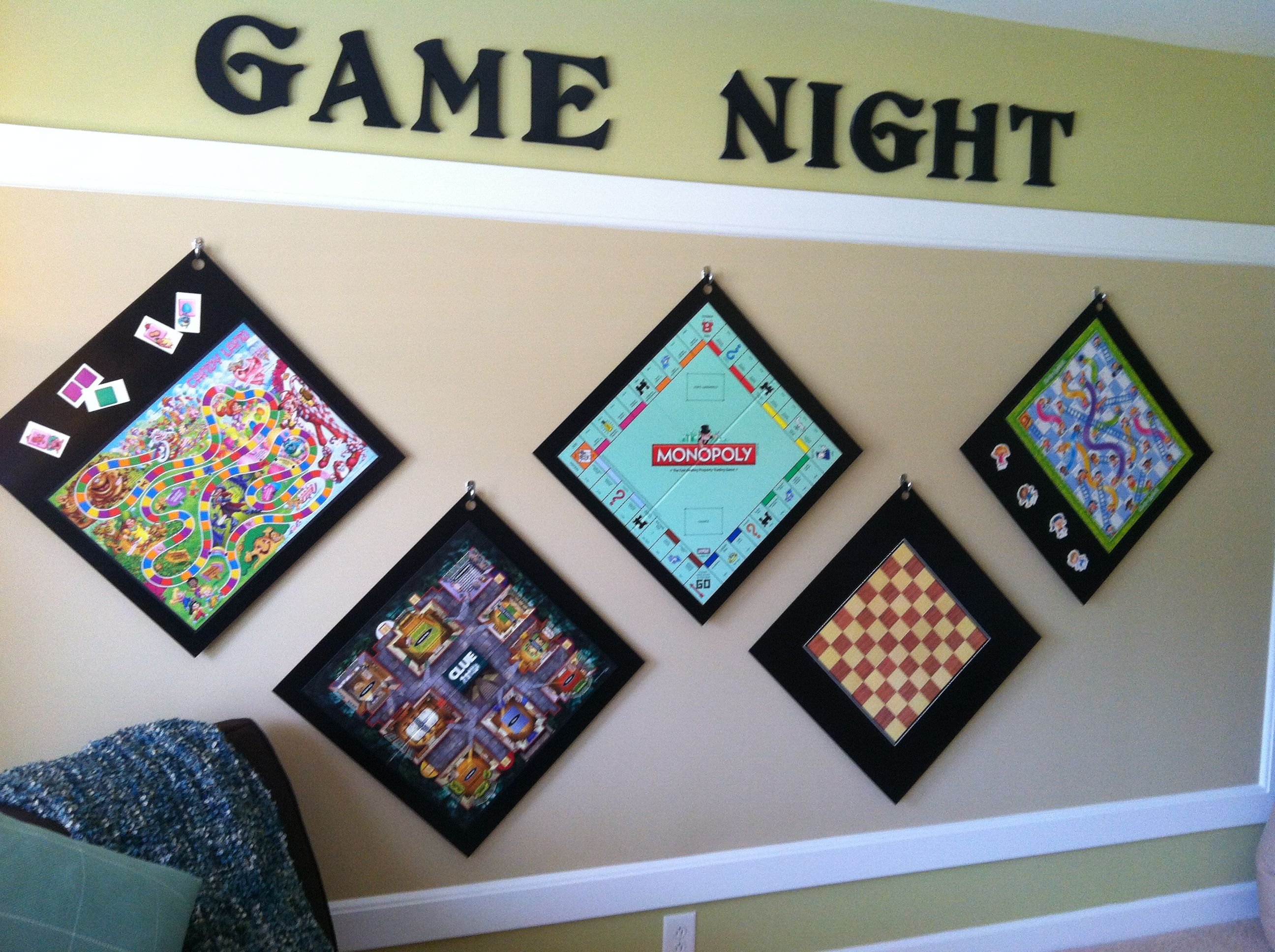 Put Game Boards On Wood Hang On Wall Easy Access Cool Decorations Game Room Family Game Room Game Room Decor