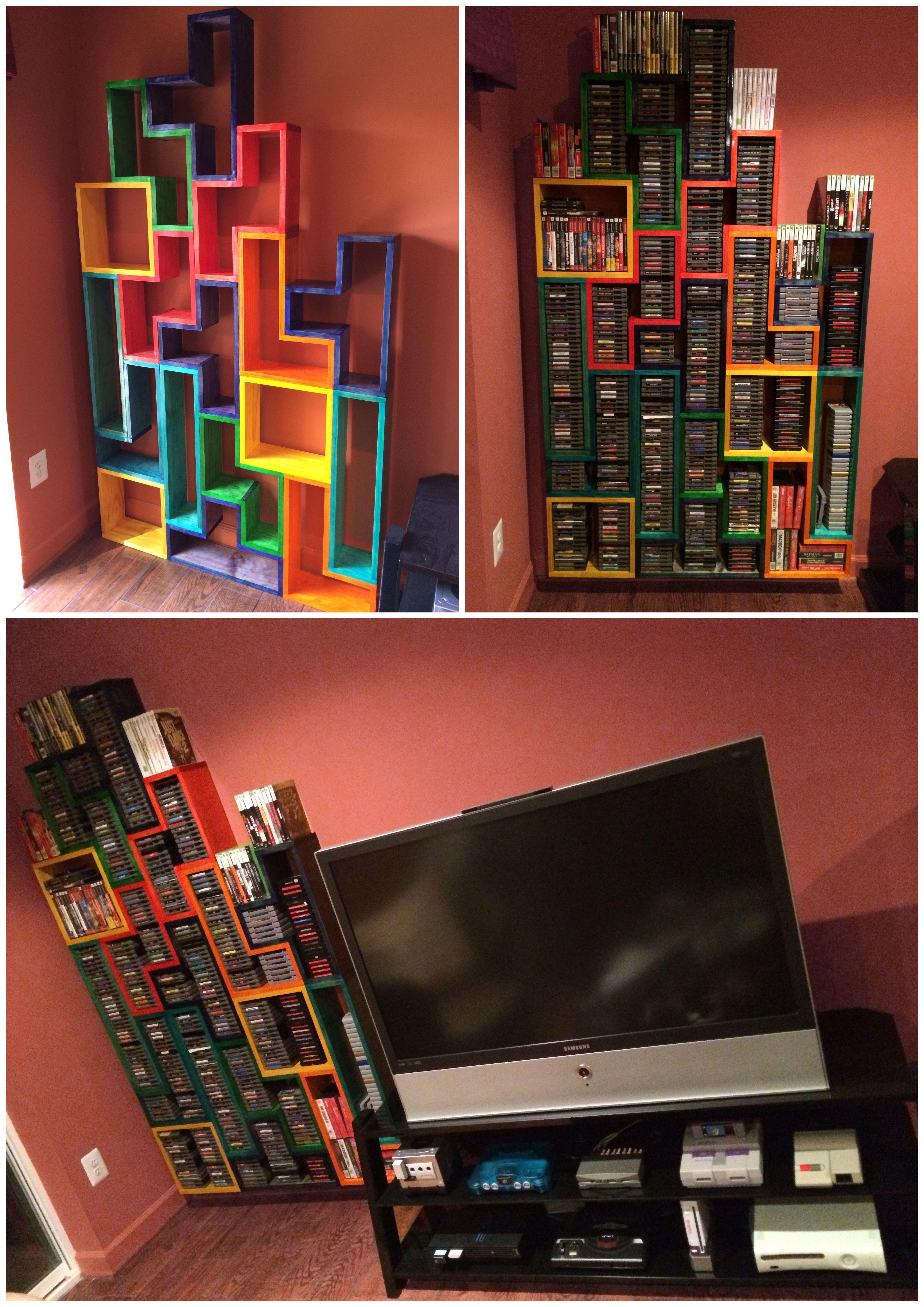 Tetris Wall O Games Shelves In 2020 Video Game Rooms Video Game Shelf Tetris