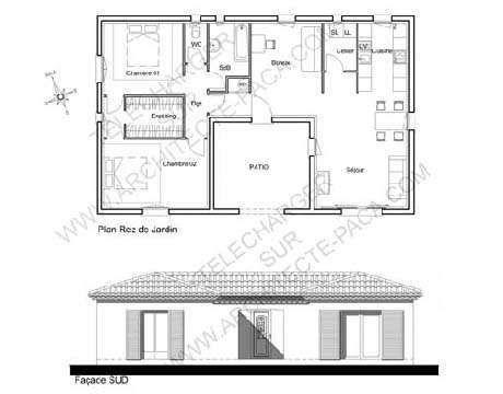 Plan de maison en U d\u0027architecte conçu autour d\u0027un patio d\u0027accueil