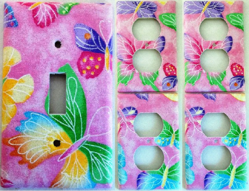 Pink Purple Colorful Butterfly Girls light switch cover plate Set Of 5 Kids bedroom bathroom wall decor single toggle or set rocker decora by ChrisCraftiedecor on Etsy
