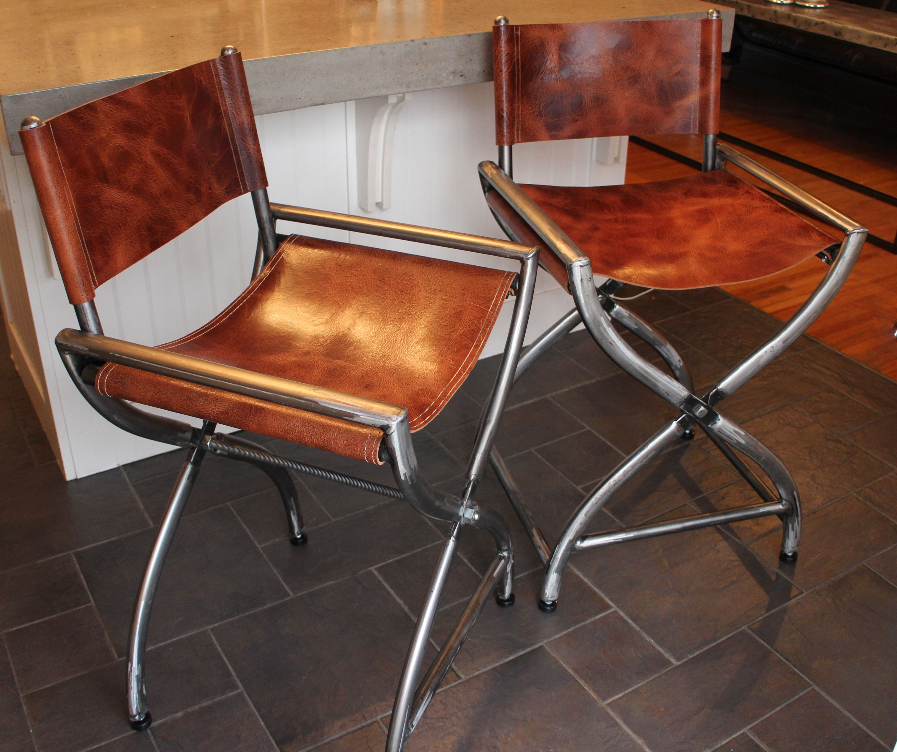 Kitchen Stool Director Chairs All Raw Steel Wred In Thick Buffalo Leather