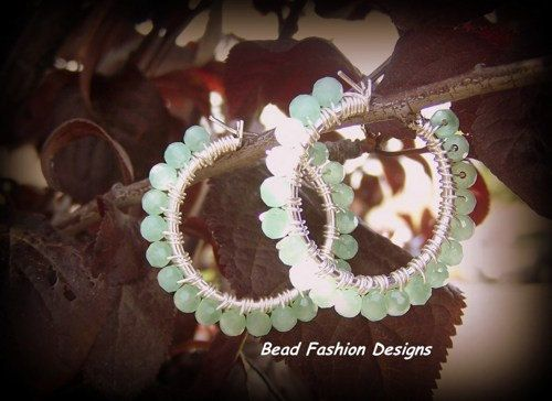 Silver Plated Green Mint Wire Wrapped Hoop Earrings. SRAJD. Published Work in Bead Trends Magazine