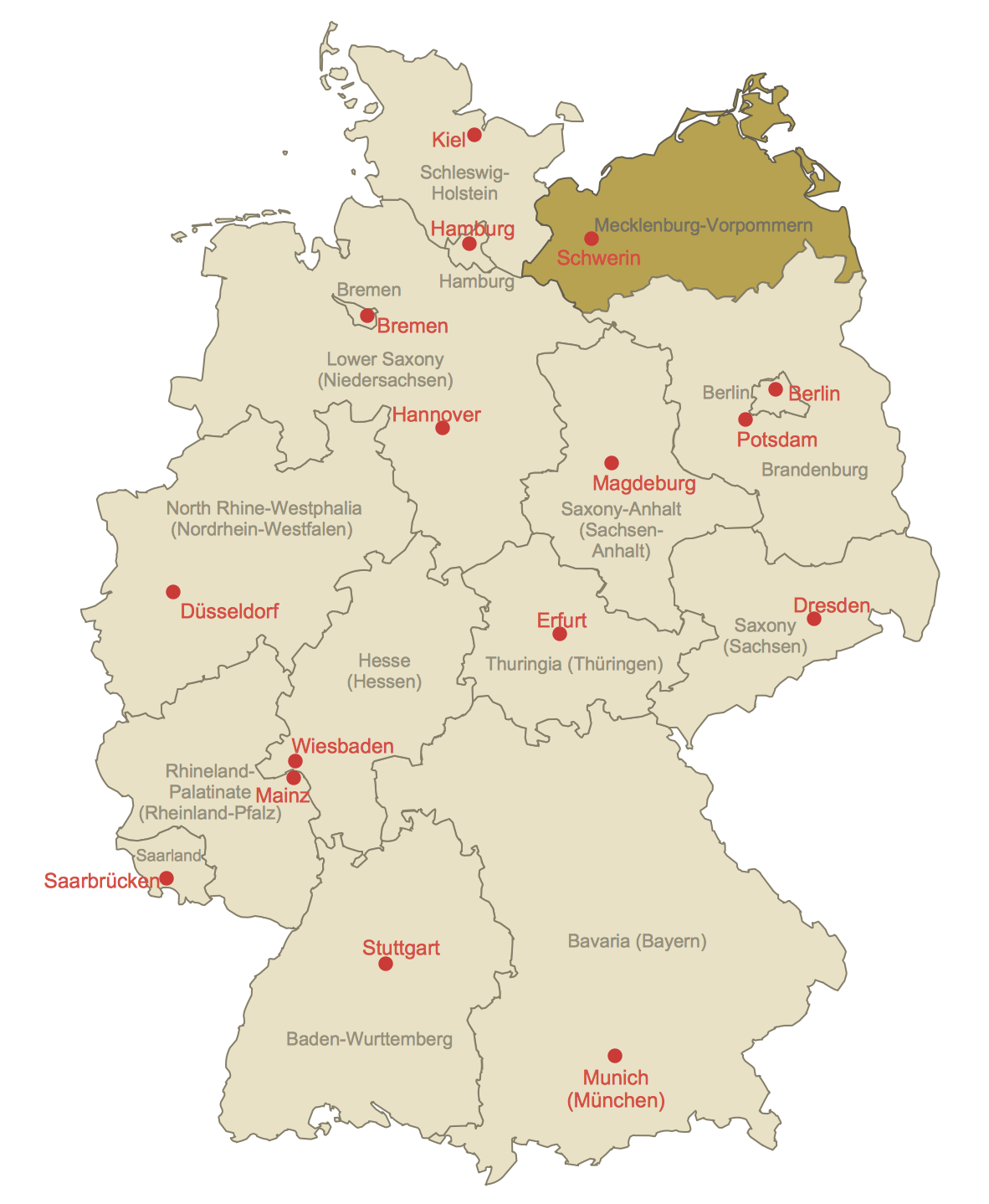 Locator Map of MecklenburgVorpommern This diagram was created in