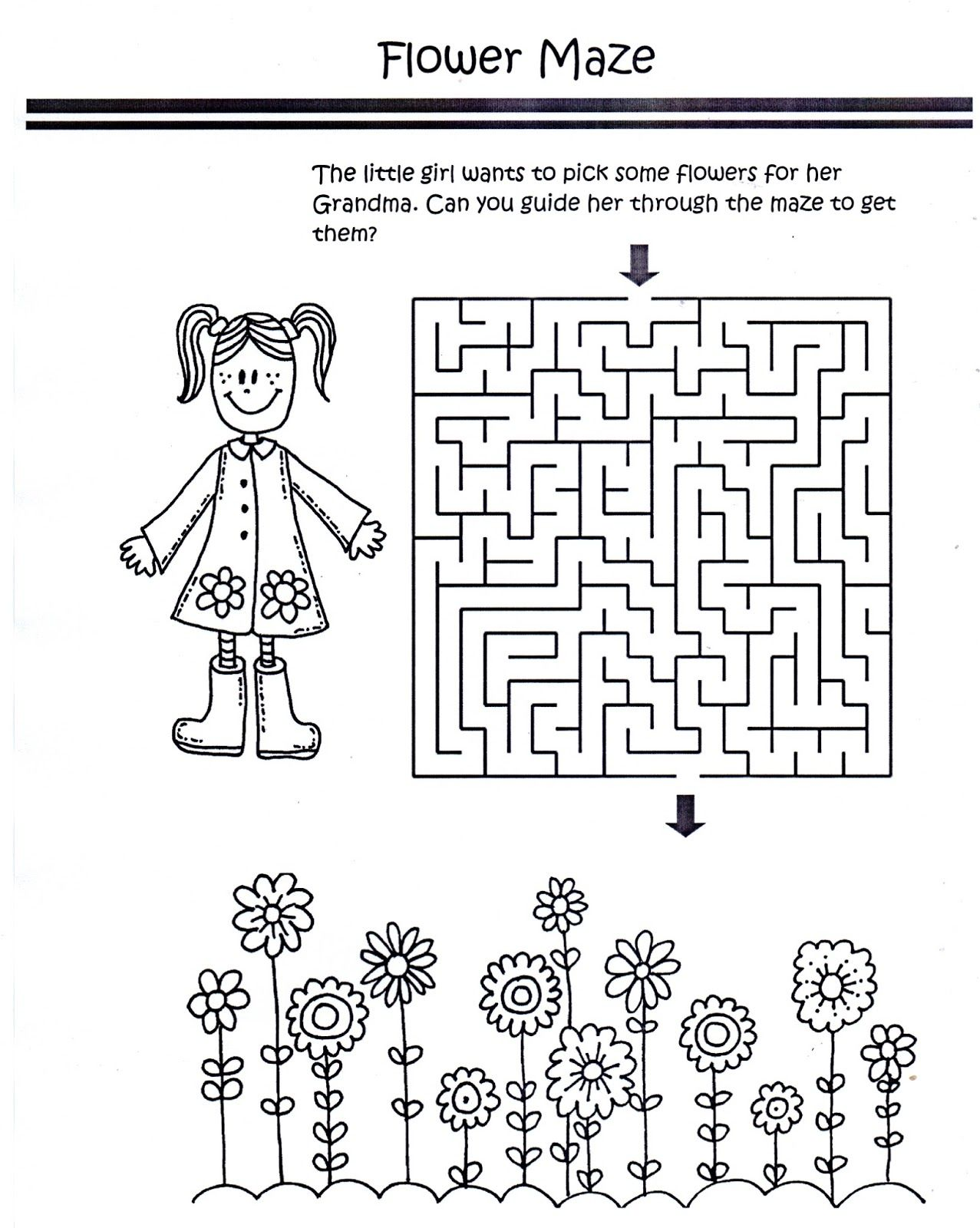 Color Worksheet Flower Maze