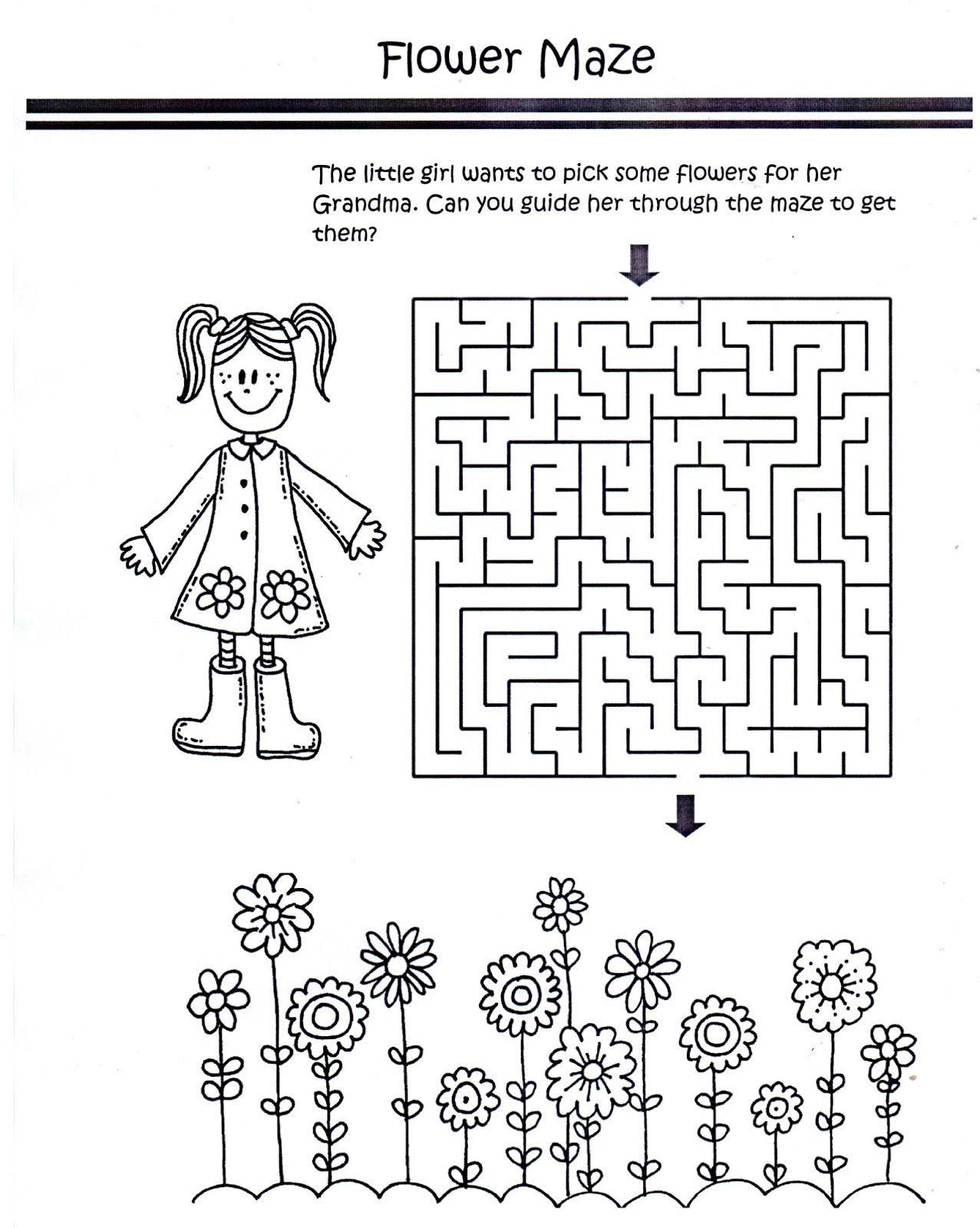 Color Worksheet Flower Maze