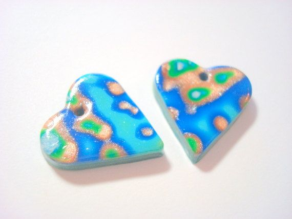 Ocean Calm Blue Gold and Green Handmade Polymer Clay by PennysLane, $1.50