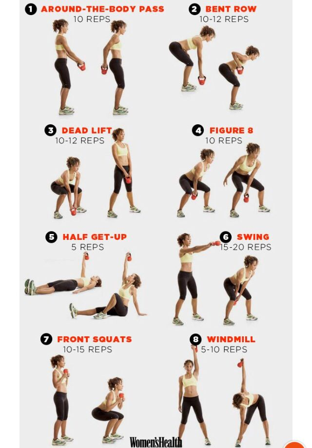 2 min rest after completing an entire set. Use 10 lb weight Beginner  Kettlebell Workout