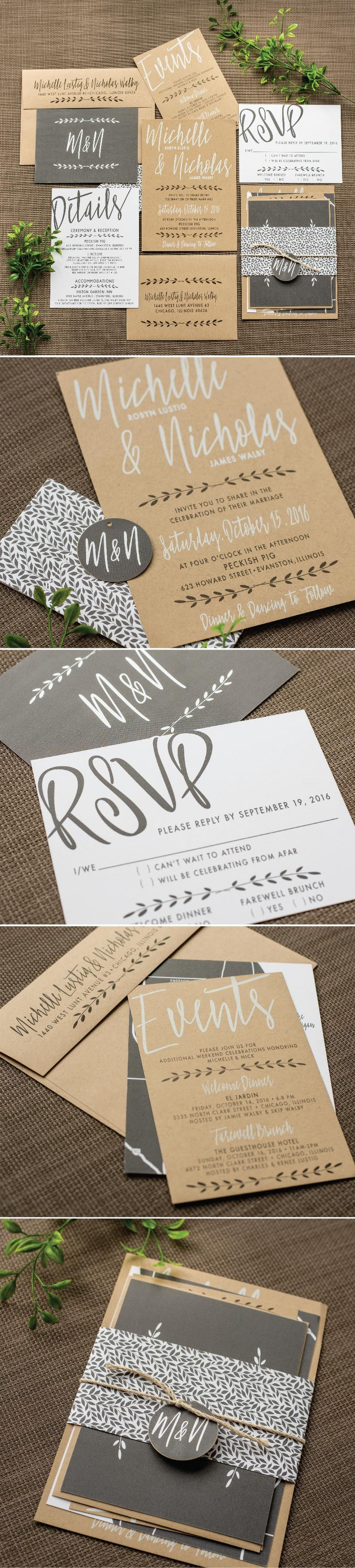 wedding invitation rsvp wording funny%0A Industrial Chic Wedding Invitation by Ashley Parker Creative for a Modern  Wedding on Kraft Paper with
