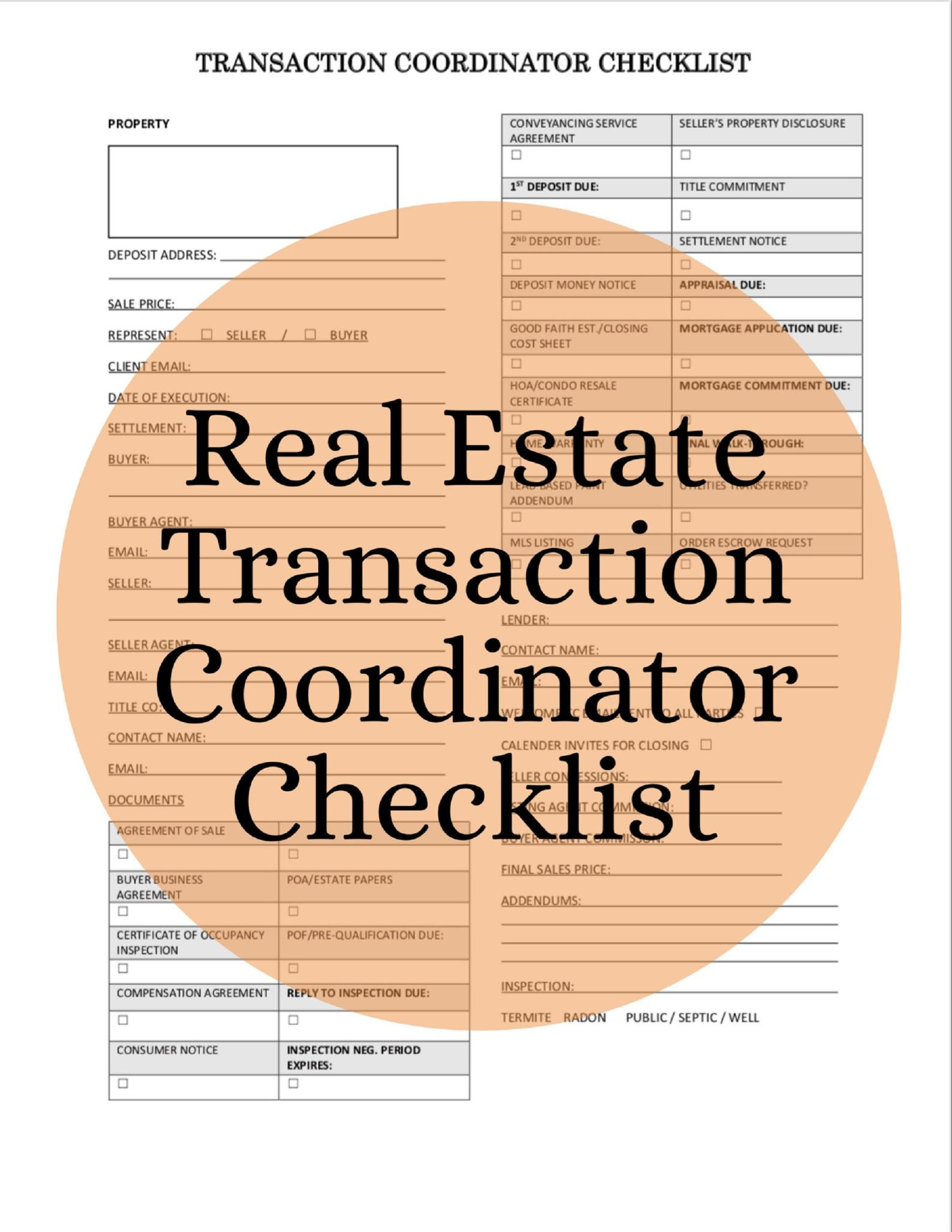Real Estate Transaction Coordinator Checklist Printable 1 Etsy In 2021 Real Estate Assistant Real Estate Checklist Real Estate Infographic Real estate closing checklist template