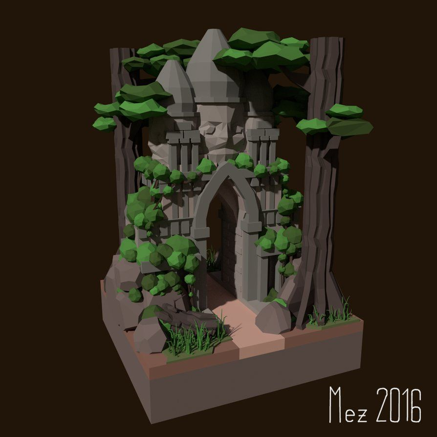 I just wanted to do some Jungle-Temple Stuff for the LowPoly reddit