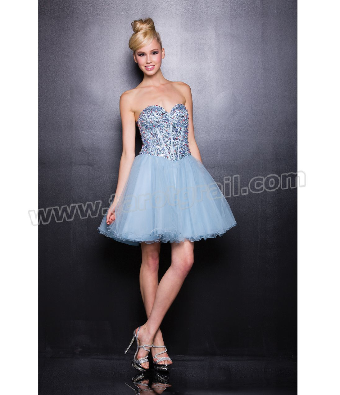 light blue strapless blinged dress