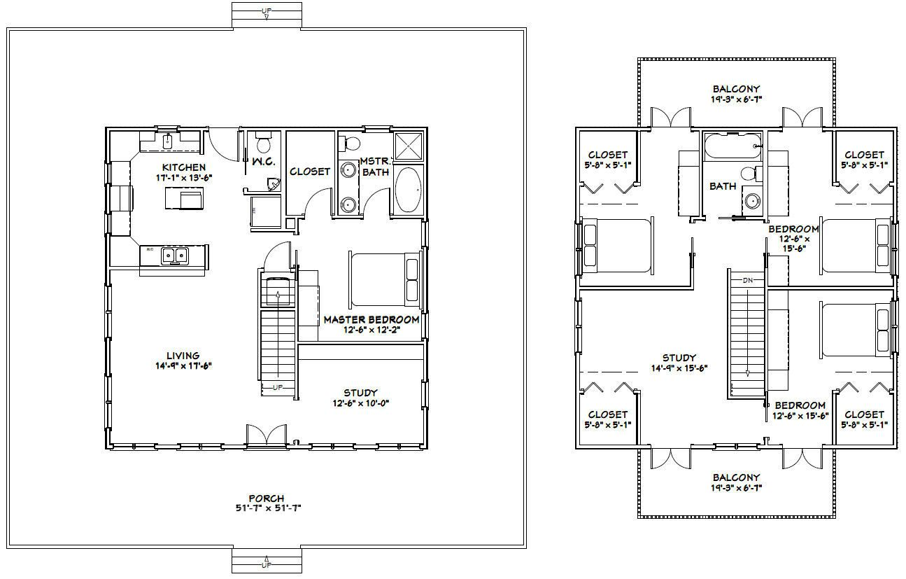 32x32 4 Bedroom House 32x32h1a 1 972 Sq Ft Excellent Floor Plans Four Bedroom House Plans Square House Plans Bedroom House Plans