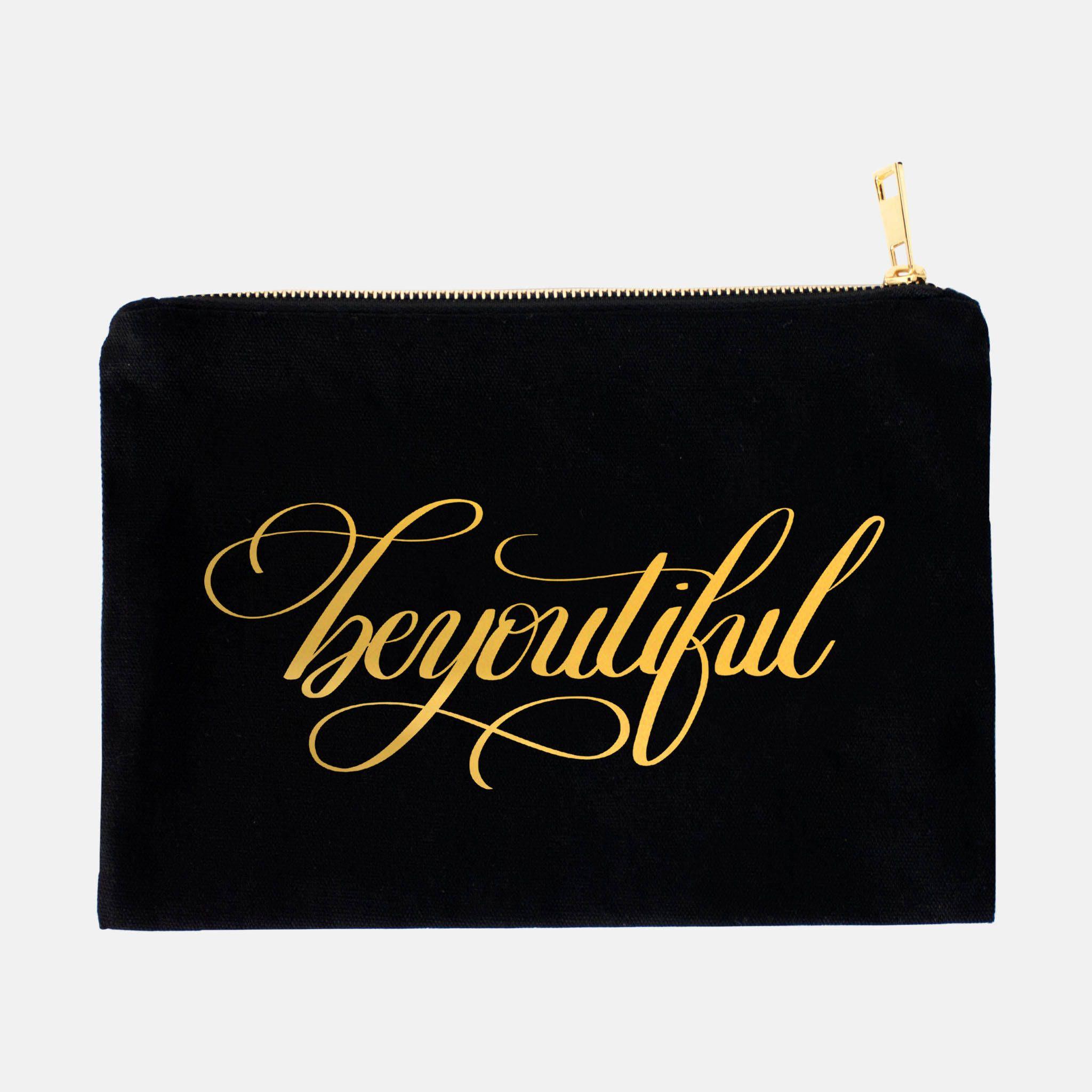 Be You Tiful Canvas Makeup Bag, Bag with Sayings, Gold
