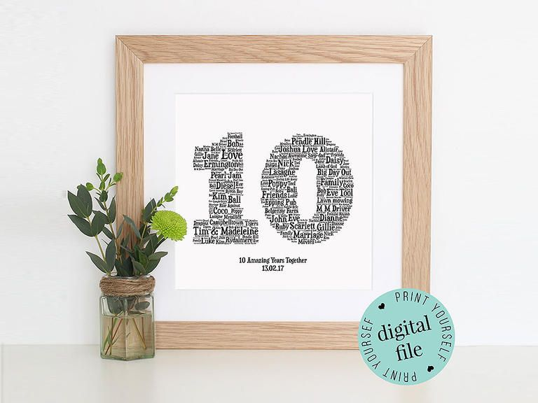 The Best 10 Year Anniversary Gift Ideas For Her Him And Them 10 Year Anniversary Gift 10 Year Wedding Anniversary Gift Diy Anniversary Gifts For Him