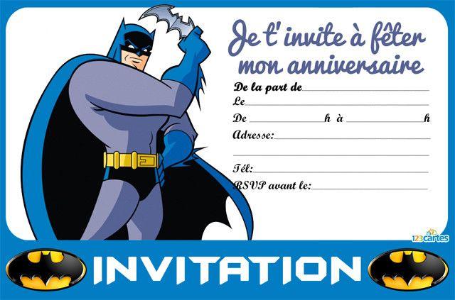 Invitation anniversaire batman et son batarang imprimer - Batman gratuit ...