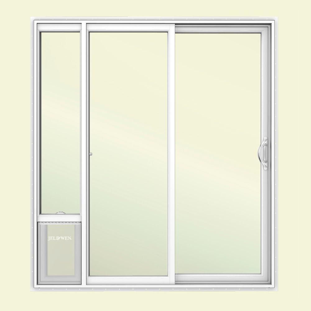 Jeld Wen 72 In X 80 In White Right Hand Vinyl Patio Door With Low E Argon Glass And Large Pet Door Sierra Le 6068lpdp Rh Vinyl Patio Doors Pet Patio Door Sliding Patio