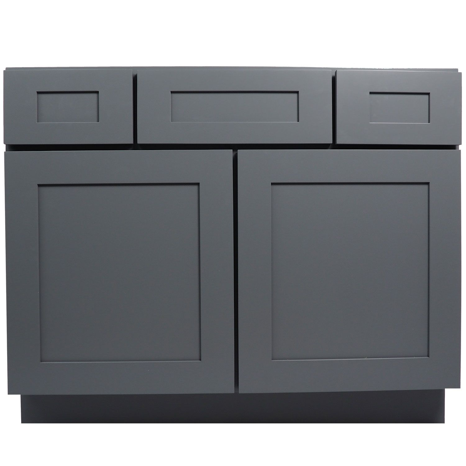 42 Inch Bathroom Vanity Single Sink Cabinet In Shaker Gray With Soft