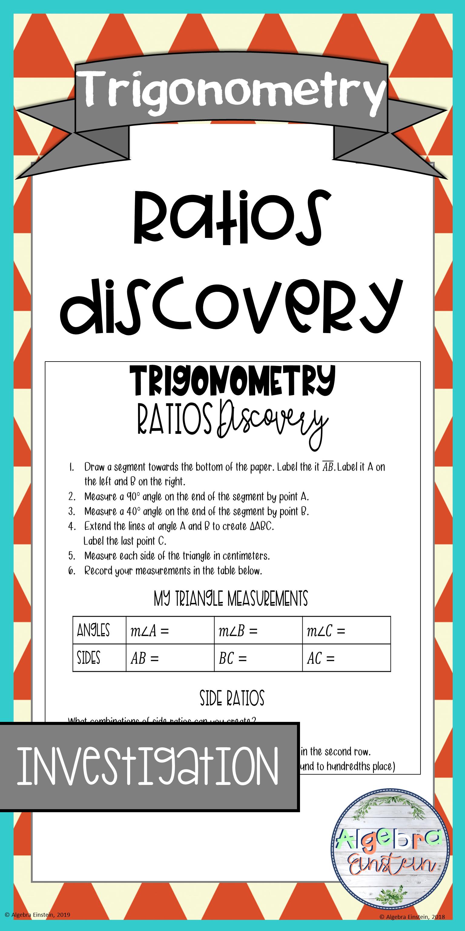 Right Triangle Trigonometry Ratio Discovery Activity