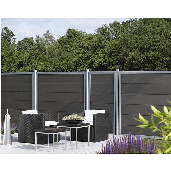 Wpc Desigzaun Alu Anthrazit 90 X 180cm Sichtschutz Garten Zaun