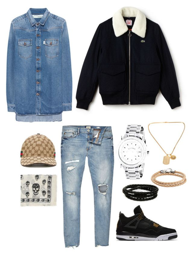 """I'm pretty..."" by bashir-adekunle on Polyvore featuring Off-White, River Island, Lacoste, Gucci, NIKE, Alexander McQueen, Versace, Porsche Design, Tod's and men's fashion"
