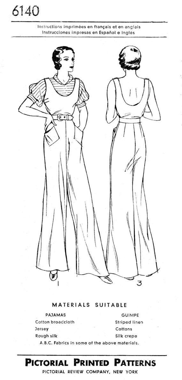 vintage sewing pattern 1930s beach pajamas one piece jumpsuit ...
