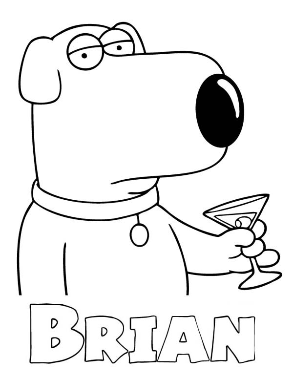 Brian Griffin Drinks In Family Guy Coloring Page Kids Play Color In 2020 Coloring Pages Griffin Family Guy
