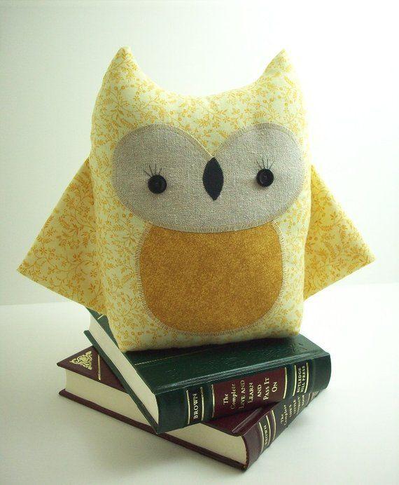Items similar to Owl stuffed toy in yellow, owl pillow, kawaii owl stuffed animal, woodland nursery decor, baby shower gift on Etsy