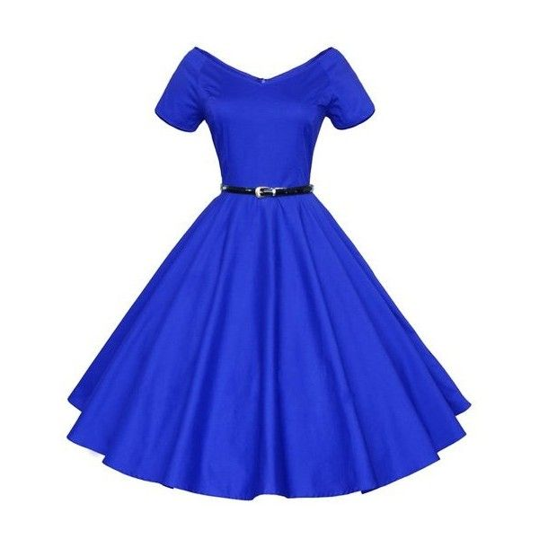 SoxontheW Womens 1950's Vintage Retro Rockabilly Party Swing Evening... ($21) ❤ liked on Polyvore featuring dresses, vintage party dress, night out dresses, vintage cocktail dress, holiday party dresses and blue vintage dress