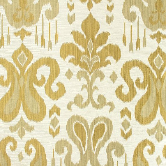Gold Damask Fabric - Upholstery Fabric - Medallion Curtain Fabric