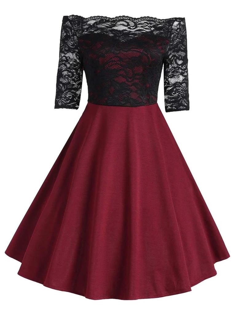 Photo of 1950s Floral Lace Off Shoulder Dress