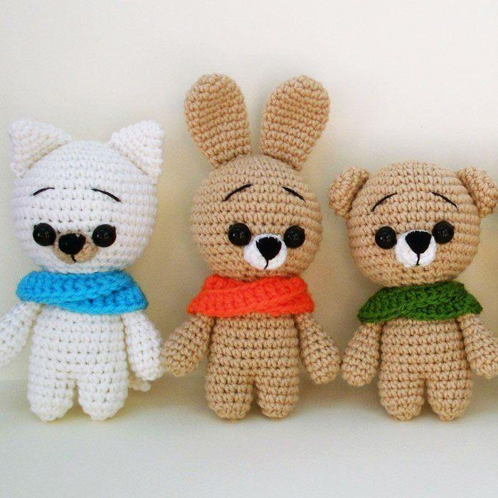 Katze, Hase und Teddybär (Rasseln) | Häkeln - Babyspielsachen ...