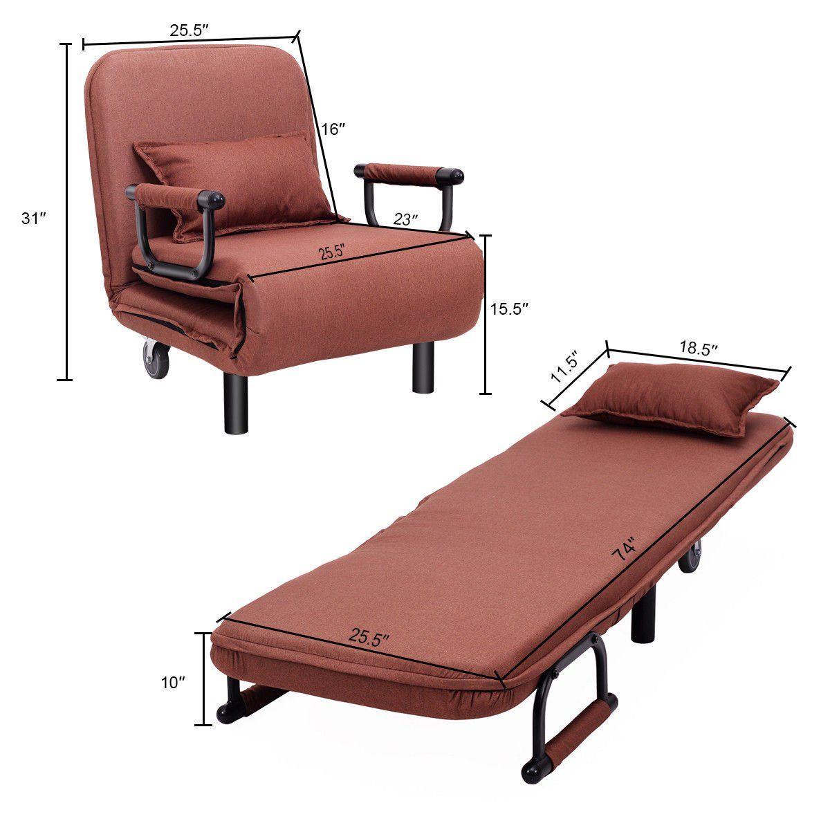 Costway Convertible Sofa Bed Folding Arm Chair Sleeper