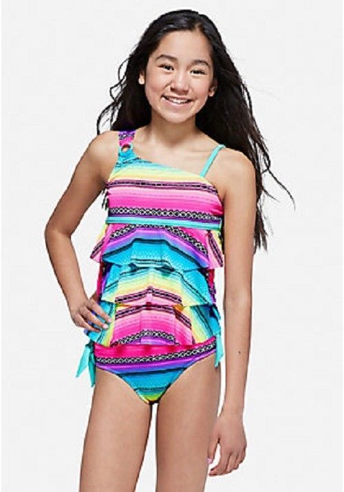 Justice Girl S Baja One Shoulder Tiered Tankini Size 12 Plus Nwt Justice Swimsuit Women Swimsuits Kids Wardrobe Cute Swimsuits