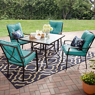 5pc Mainstays Cushioned Patio Set 230 Outdoor Patio Table Patio Dining Set Patio