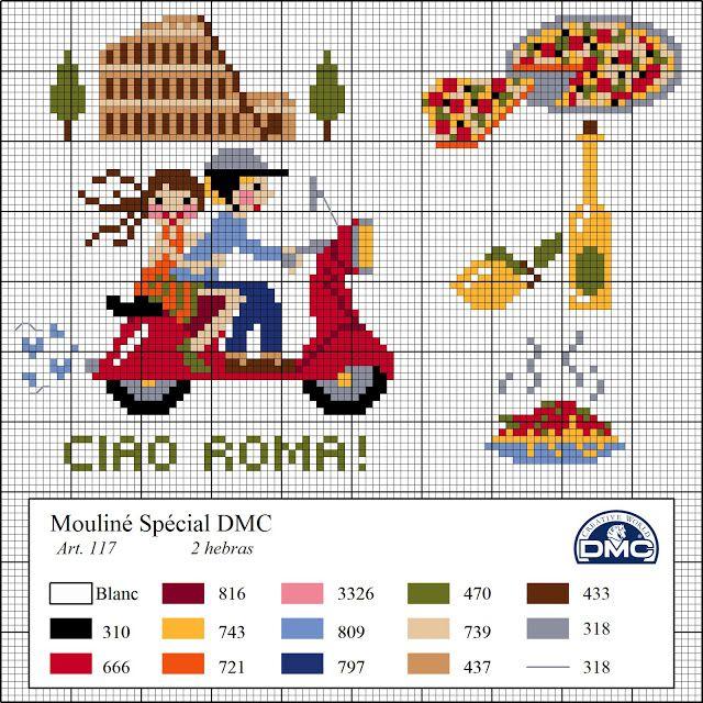 El blog de Dmc: Diagramas de punto de cruz de viajes | para baberos ...