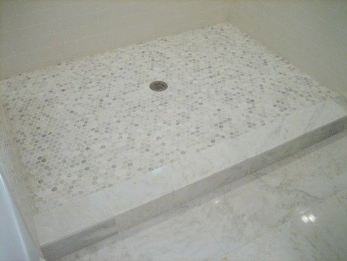 Hex Or Penny Round For Shower Floor Marble Tile Curb