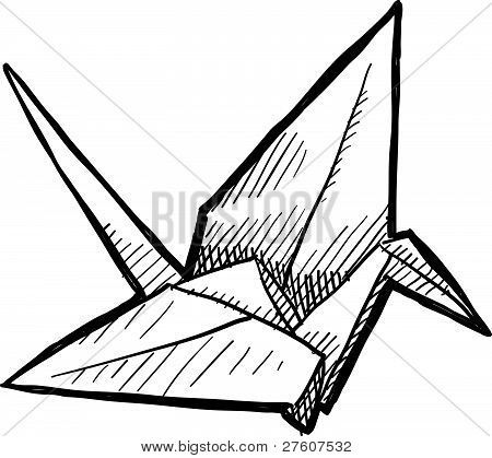 tsuru origami crane  illustration