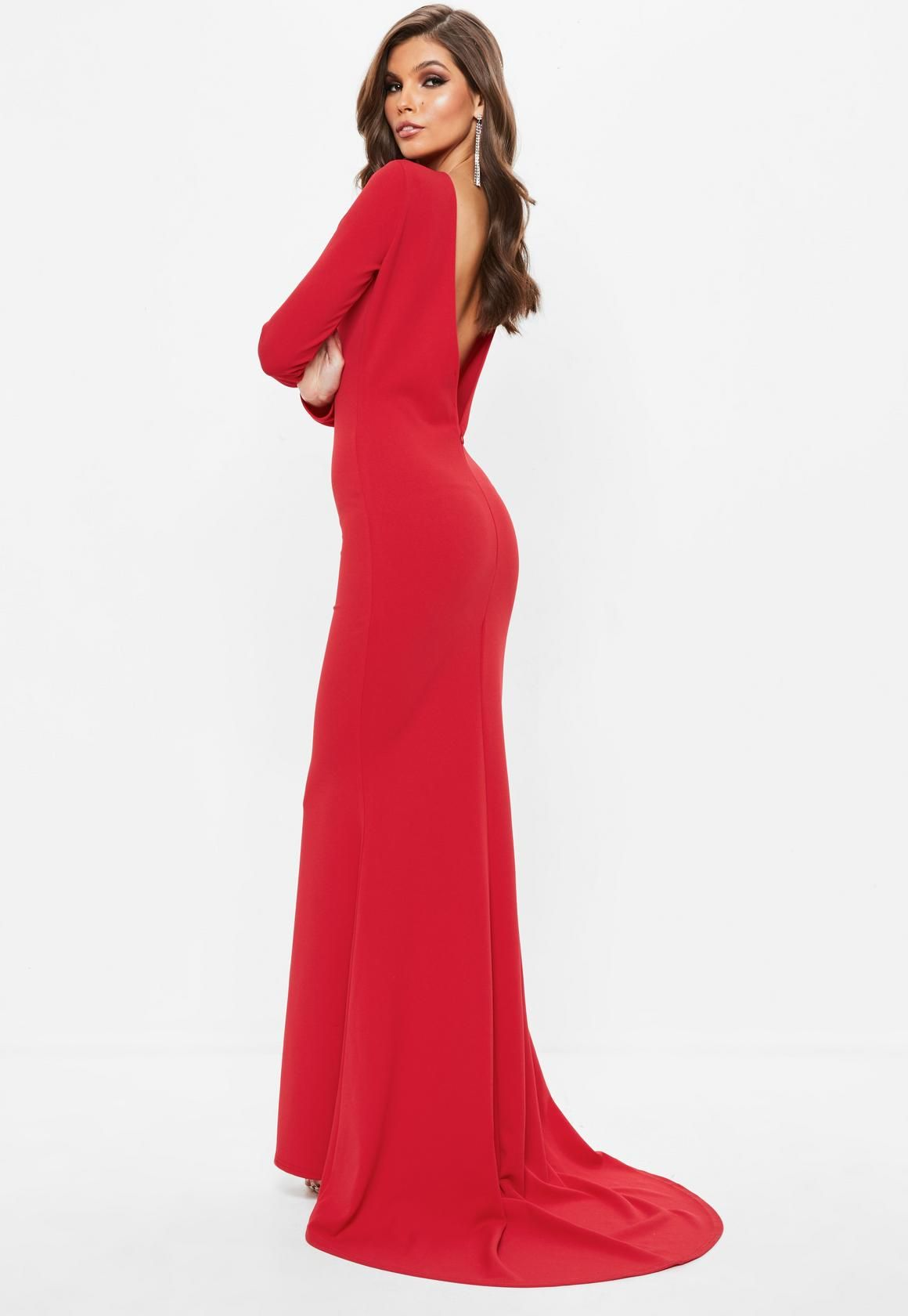 9a2387eae13 Missguided - Red Long Sleeve Open Back Fishtail Maxi Dress