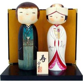 """Japanese 4/""""H Bride and Groom Wedding Clay Dolls Gift Set// Made in Japan"""