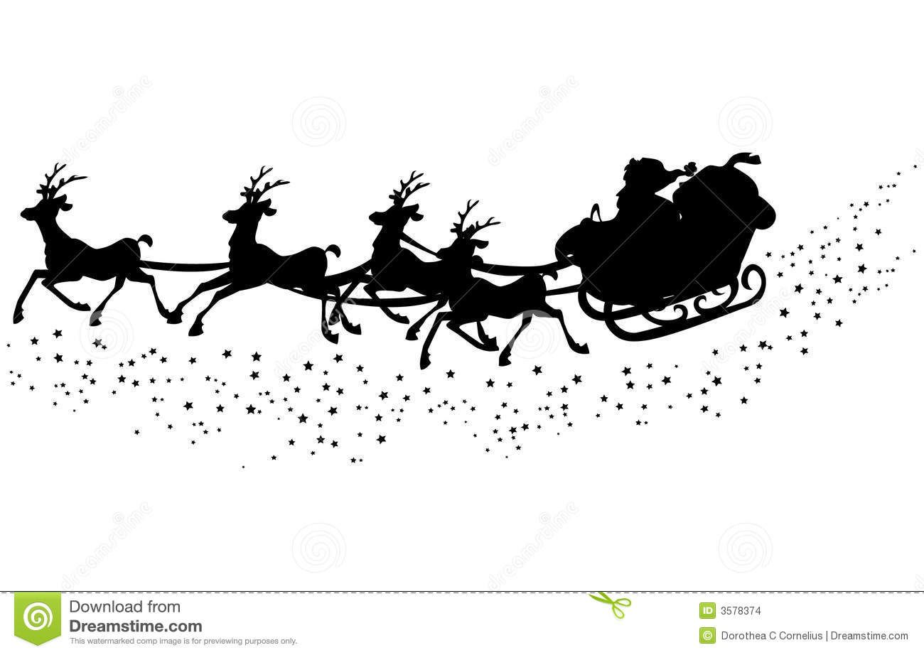 Photo About Illustrated Silhouette Of Santa Claus In The Sleigh With His Reindeer S Illustration Of S Reindeer Silhouette Santa Sleigh Silhouette Santa Sleigh