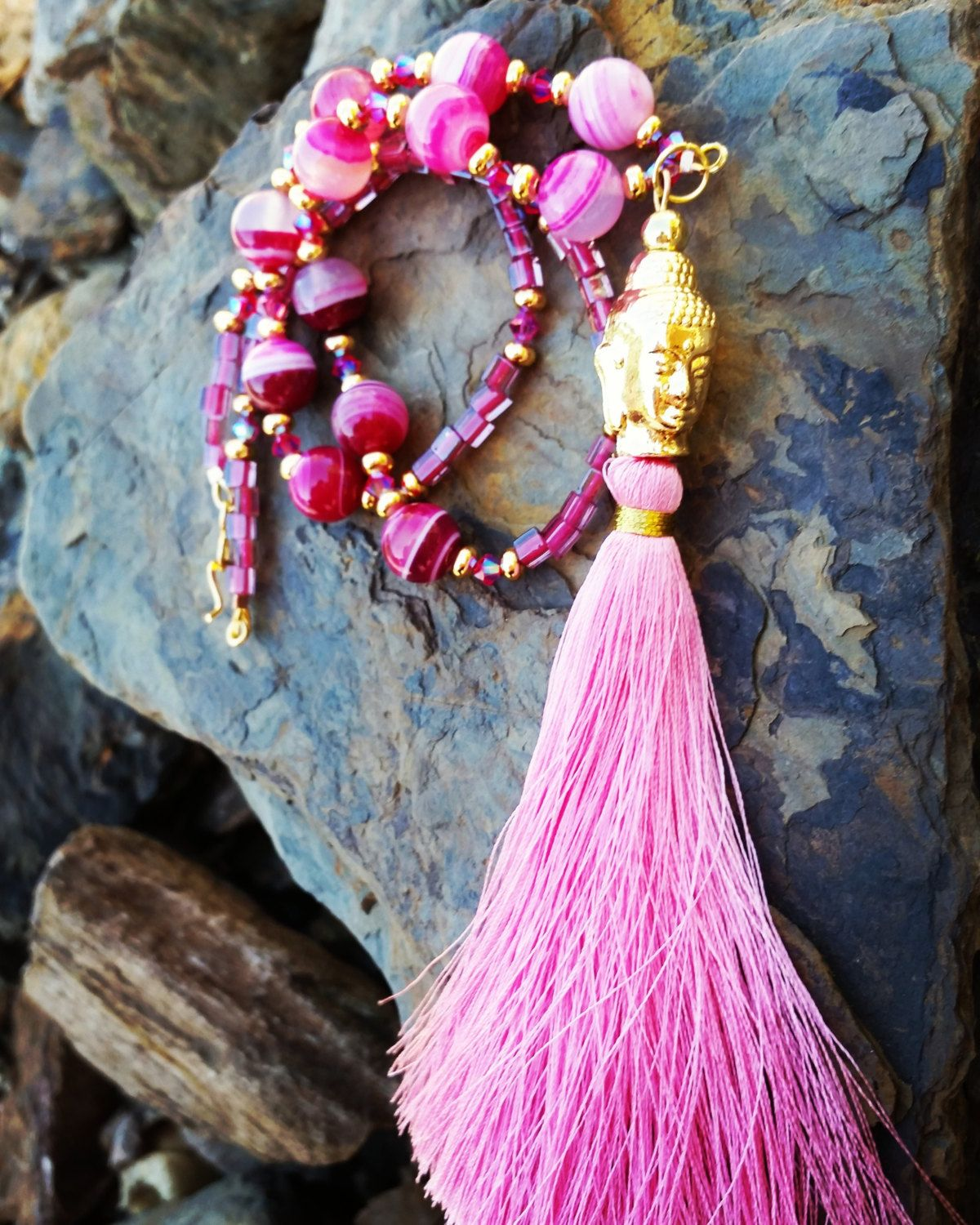 Fuchsia Buddha Tassel Necklace / one of a kind by JillTurrentineDesign on Etsy