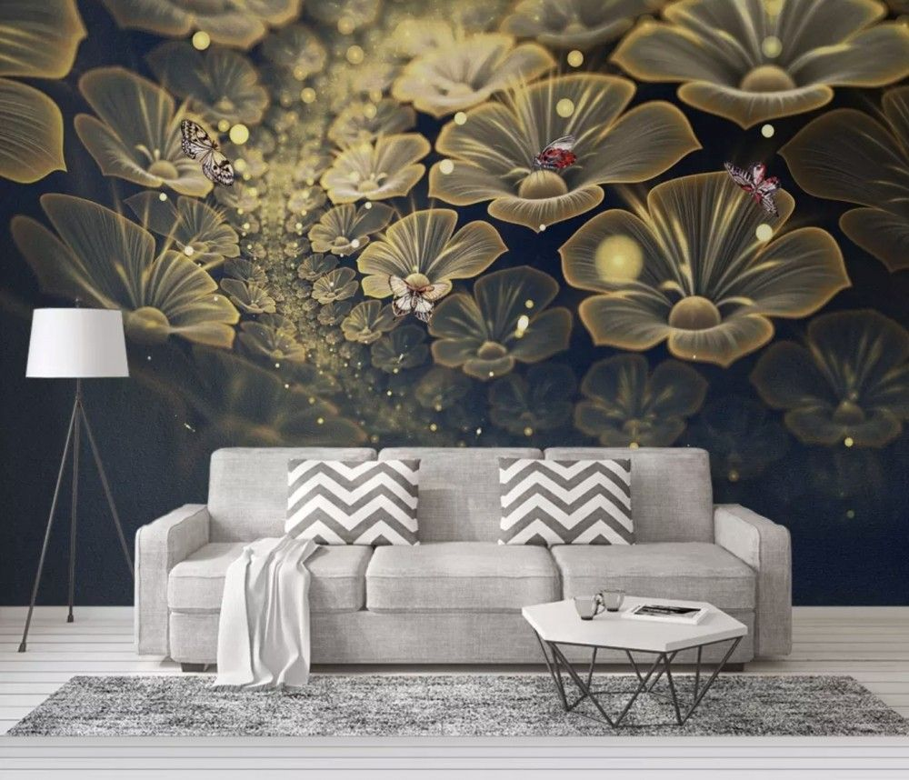 Dark Floral Of Yellow Light Wallpaper Mural Colourful Li