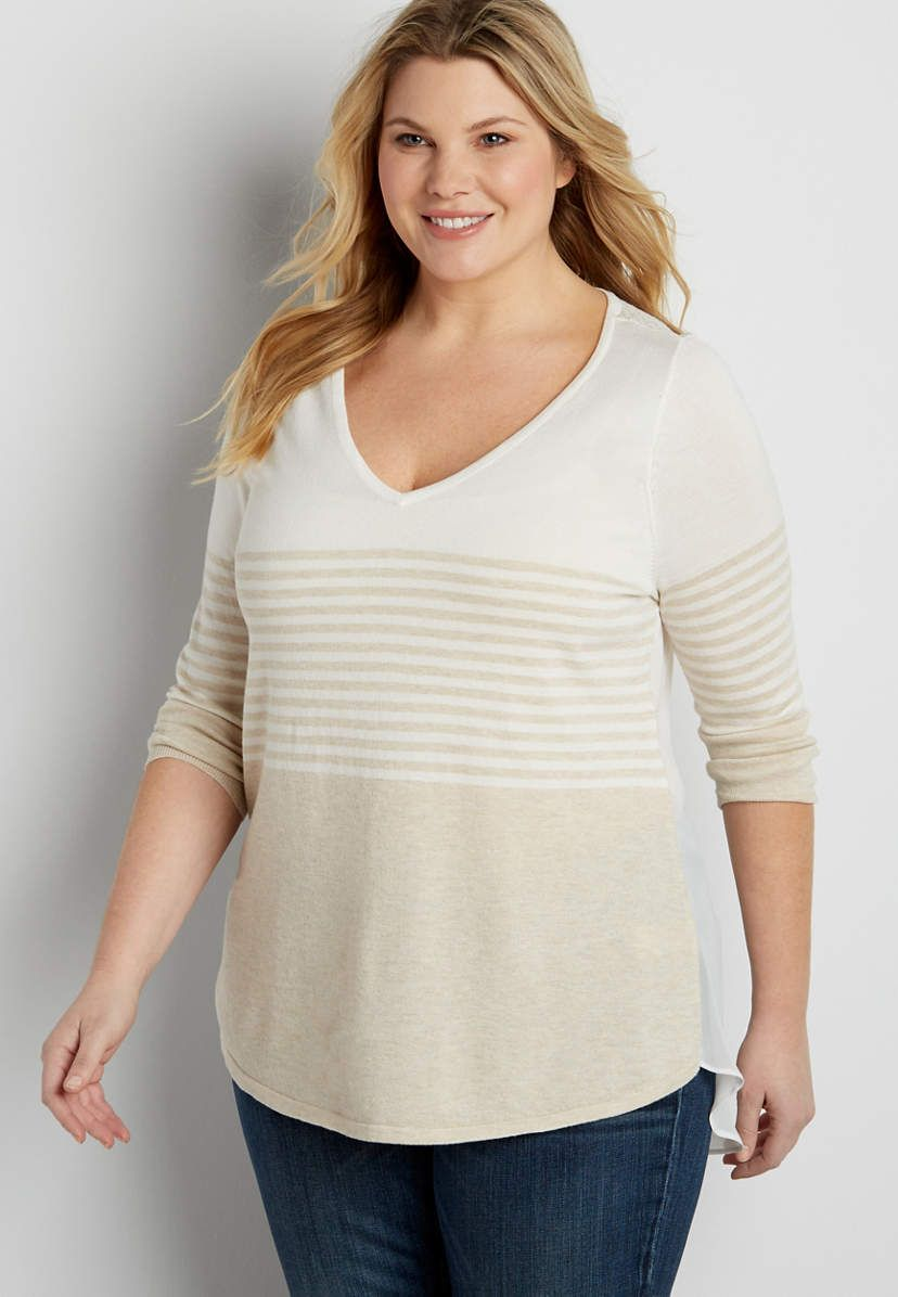 plus size pointelle stitched colorblock pullover sweater with chiffon back   maurices