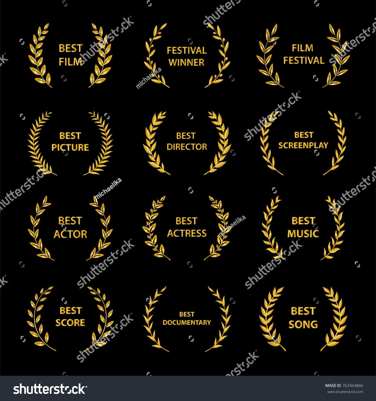 Gold Award Wreaths On Black Background Film Awards Vector Illustration Sponsored Sponsored Wreaths B Film Awards Black Backgrounds Vector Illustration