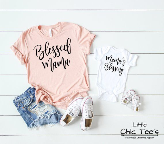 Blessed Mama and Baby, Mama Baby Shirts, Mommy and Me Shirt Set, New Mama Shirts, Mommy Gift Set #babyshirts