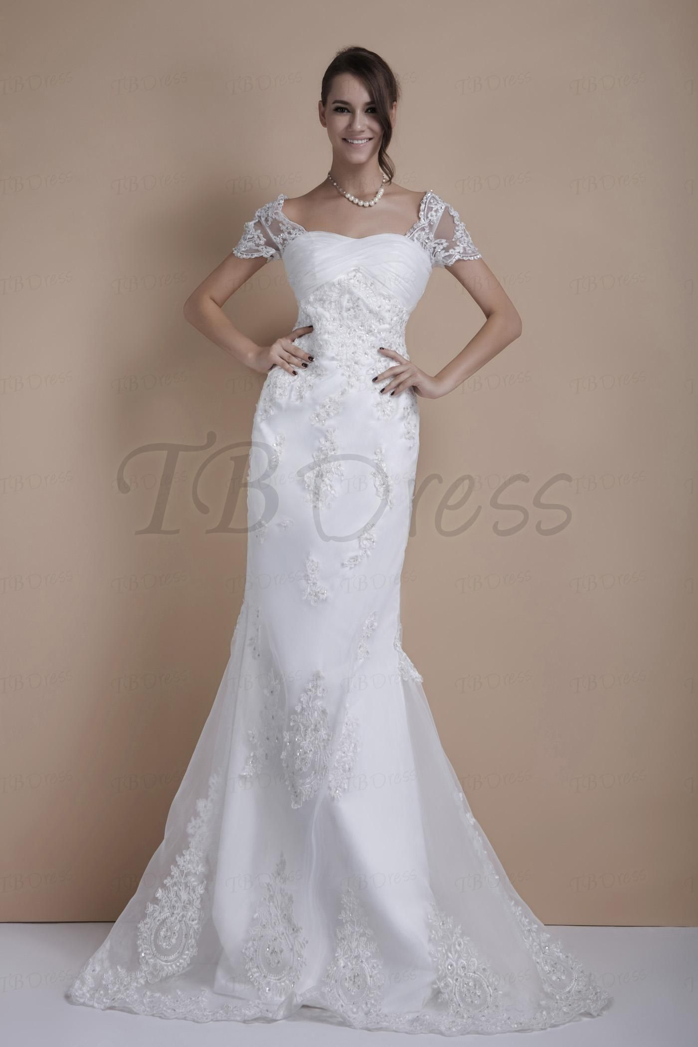 Trumpetmermaid short sleeves court train sandraus wedding dress
