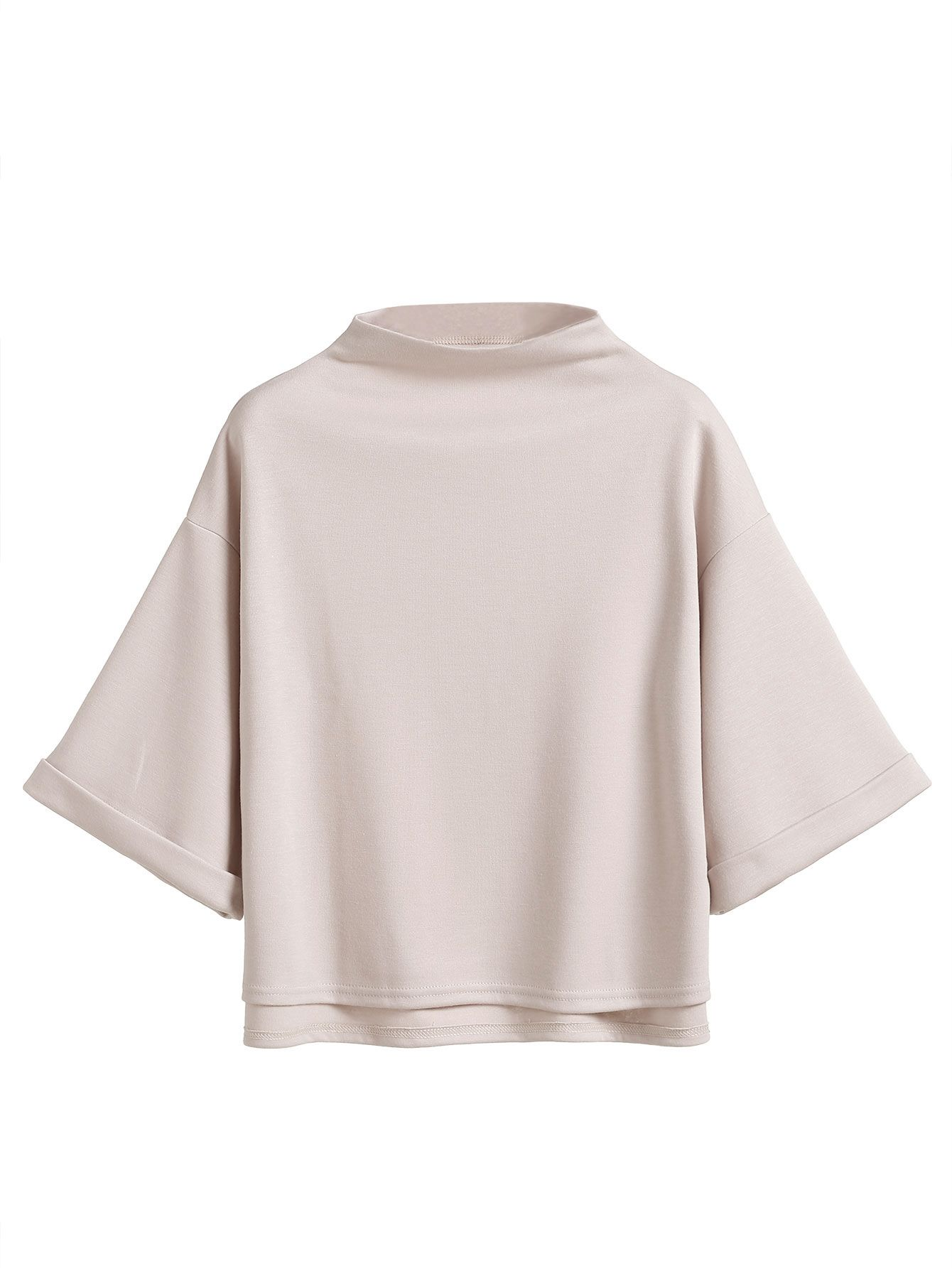 afcf4211 Shop Mock Neck Drop Shoulder High Low Cuffed T-shirt online. SheIn offers Mock  Neck Drop Shoulder High Low Cuffed T-shirt & more to fit your fashionable  ...
